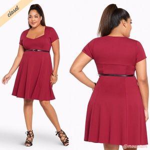 [Torrid] Red Ponte Skater Dress